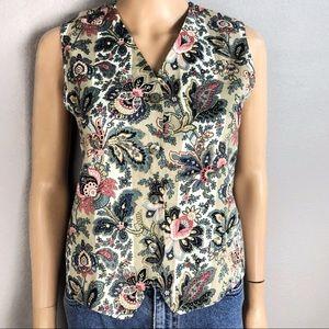 90's Vintage Linen Vest Paisley Striped Floral